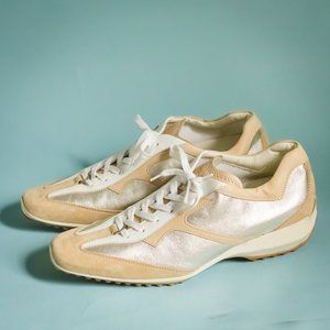 Tod's Size 11 White Tan Silver Leather Sneakers